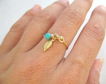 Gold ring, Turquoise ring, gold stacking ring, leaf ring, thin ring, delicate gold hammered ring, leaf charm ring, 14k gold filled