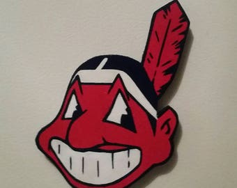 Cleveland Indians chief Wahoo handmade wood magnet