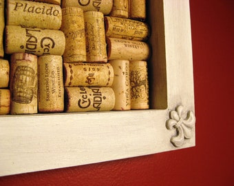 Recycled Wine Cork Bulletin Board Corkboard With Fleur de Lis - Paris Gray Aged Finish