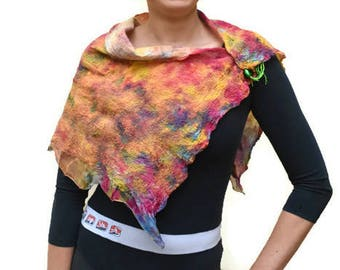 Nuno felted silk Neck Scarf. Hand dyed colourful Collar/Soft Shoulder Wrap. Versatile shoulder/Neck Cape, felt stitched leaves FREE gold pin