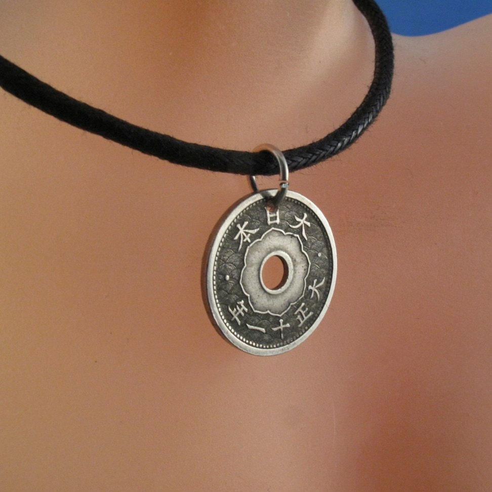 Coin necklace japanese jewelry pendant silver sen kiku zoom mozeypictures Images