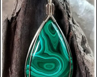"""Malachite Pendant Hand Wrapped in 14/20 Gold Fill Wire with an 22"""" Black Corded Necklace. Bohemian Wanderlust Amulet. Zen"""