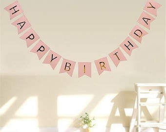 Birthday party Garland flags pink