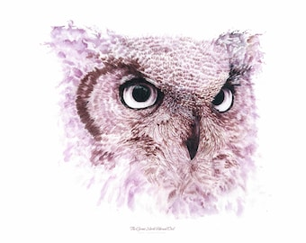 Fine Art Giclee Print: Wine Painting ~ The Great North Horned Owl