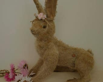 Hampton Bears, Spring woodland running light coloured Hare,  antique style, jointed mohair Artist Easter Bunny