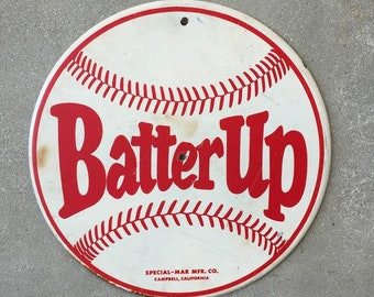 Vintage Batter Up Baseball Sign (DTQGRW)