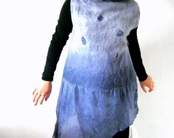 Nuno Felted Blouse, Asymmetrical Top, Long Tunic, Sleeveless, Turtleneck, A line, Medium Gray, Medium Size