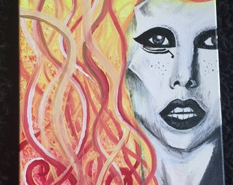 """Lady Gaga Painted Portrait - Retro Face with Fire Hair - 11"""" x 14"""" - canvas"""