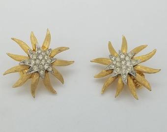 Vintage Brushed Gold & Rhinestone Star Flower Clip Earrings