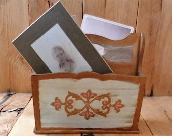 Italian Florentine Letter Holder Organizer Gold Gilt Wood Cottage Chic Paris Apartment Desk Organizer