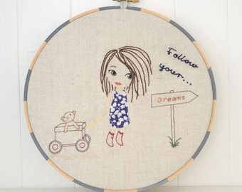 Little girl following her dreams with teddy, Hand Embroidery PDF Pattern - Instand Digital Download