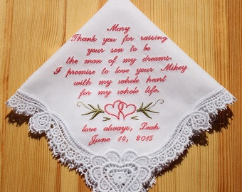 Mother of Groom Embroidered Personalized Wedding Handkerchief (H1804051)