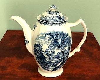 Johnson Bros England Mill Stream Ironstone Coffee Pot Blue and White China