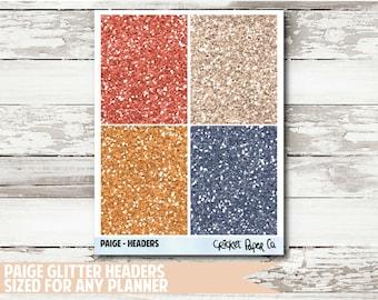 Paige Glitter Header Planner Stickers