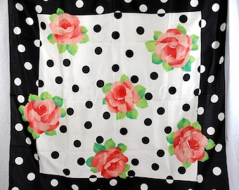Vintage Liz Sinclair Scarf- Made in Italy - Polyester - Black White Polka Dots - Red Roses