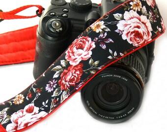 Red Roses Camera Strap. Canon Nikon Camera Strap. Photo Camera Accessories