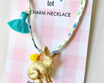 Easter Bunny Necklace, Easter Necklace, Bunny Necklace, Rabbit Necklace, Kids Jewelry, Easter Gift, Girls Necklace, Kids Necklace