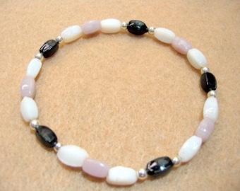 Multi Color Bead Bracelet, Classic Neutral Colors of Opaque Glass Beads, Black, White and Mauve Stretch Bracelet