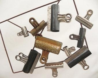 Lot de 10 Vintage papier lettre Binder Clips Hunt Pen Co. No.2, B.D. Clips Bureau Vintage n ° 4