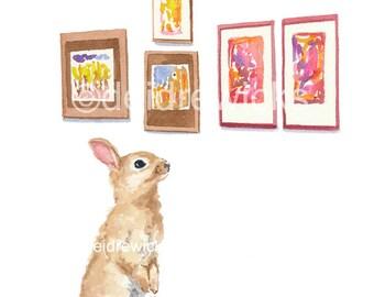 Rabbit Illustration - Watercolor Painting Print, Art Gallery, Nursery Art, Bunny Rabbit