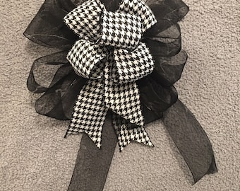 Black Organza & Houndstooth Bow
