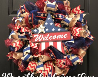 Patriotic Welcome Wreath, Rustic Patriotic Wreath, Memorial Day Wreath, Fourth of July Wreath, Welcome Wreath, Rustic Welcome Wreath,