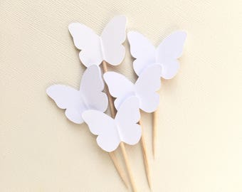 24 White Butterfly Cupcake Toppers, Party Decor, Spring, Summer, Weddings, Showers, Birthdays