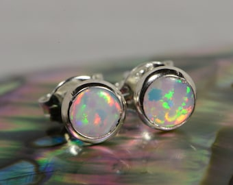 White Opal Stud Earrings Sterling Silver Opal Earrings Handmade Jewelry Sterling Silver Jewelry