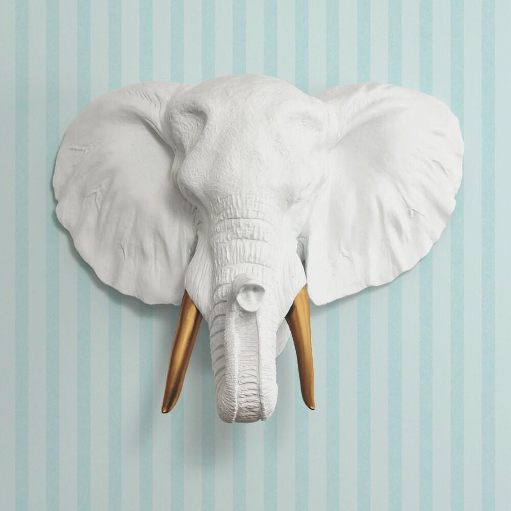 The Savannah in White Bronze Tusk Faux Elephant Head