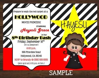 Movie Night Birthday Invitation, Hollywood Premiere, Birthday Invitation,
