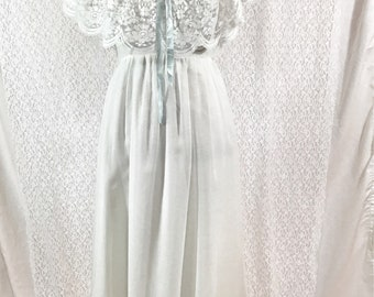 Vintage White and Blue Lace Dress - S