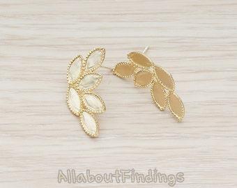 ERG029-MG // Matte Gold Plated Laurel Wreath Leaf Ear Post, 2 Pc