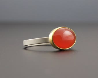 Fire Opal Ring - Bezel Set Opal Cabochon Ring - Oval Gemstone Ring - Gold and Silver - Size 7.5 - Mexican Fire Opal Jewelry