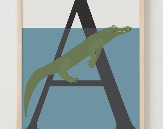 Animal Alphabet, A is for Aligator Fine Art Print