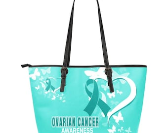 Ovarian Cancer Awareness Leather Tote Bag