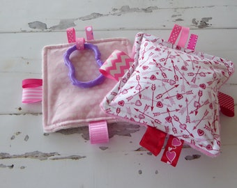 """Baby girl toys, for the love of hearts crinkle toys, 5"""" soft teething toys, perfect size for babies hands, lots of crinkle noise, set of 2"""