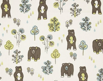 Bear Fabric by the YARD Upholstery Home Decor blue green brown natural curtain pillow honey bears mantis macon Premier Prints SHIPsFAST