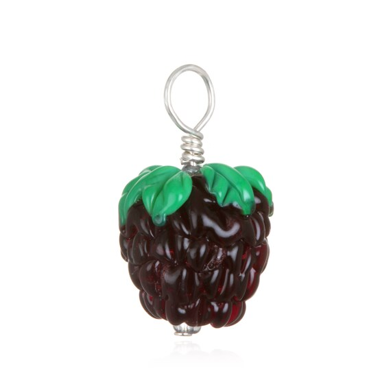 Glass Blackberry Pendant Necklace on Leather