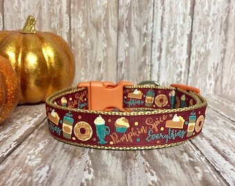 Pumpkin Spice - Pie - Dog Collar Halloween Fall Thanksgiving - Burgundy - Scarlet Color