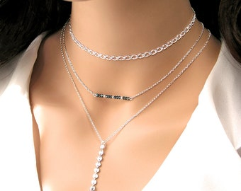 Sterling Silver Chain Choker Necklace  Simple Layering Chain Necklace Chic Modern Choker Delicate Dainty Everyday Jewelry