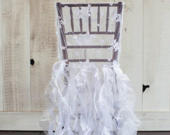 Lace Romantic Ruffles Chair Jacket (Available in several colors)
