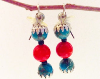 pierced earrings, turquoise coral earrings, JeriAielloartstore, made in America, USA small business, gift idea, one of a kind, spring summer