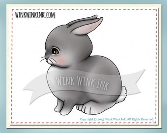 Digital Stamp - Cottontail - cute baby bunny rabbit digi image