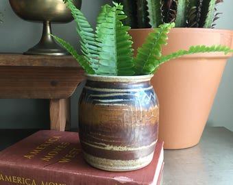 vintage studio pottery vase vessel planter earthy decor Signed Stokes