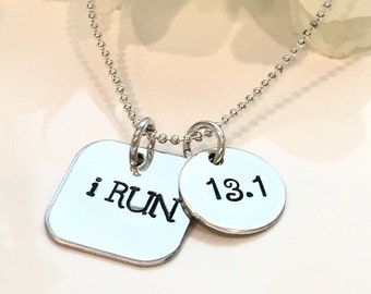 Hand Stamped Marathon Necklace-Runners Necklace-Just Run-Full Marathon necklace-Half Marathon Necklace-Running jewelry-sports Jewelery