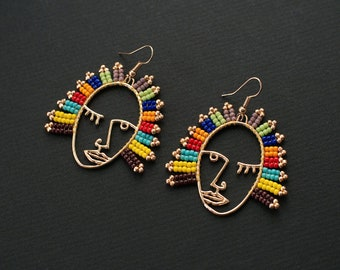 Colorful Earrings, Rainbow Earrings, Hollow Out Earrings, Golden Face Earrings, Picasso Style Earrings, Golden Earrings, Hollow Face Earring