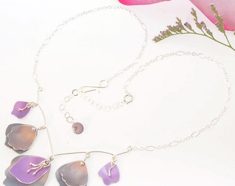 Romantic Statement Necklace, Floral Bridal Jewelry– Sterling silver and Anodized Aluminum