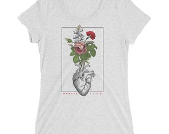 Women's Organ Transplant Shirt - HCM Awareness - CHD Awareness - Vintage Botantical Shirt - Women's Trendy Tee - Organ Donation Tee