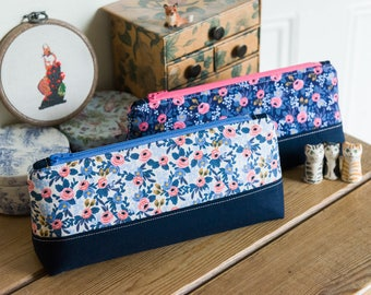 Zip pouch in a really useful size made with Rifle Paper Co Les Fleurs Rosa print, perfect as a make up bag or large pencil case