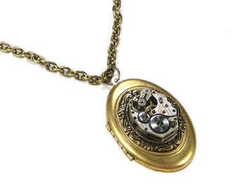 Steampunk Jewelry Vintage Watch Movement Brass Oval LOCKET Anniversary Mothers Day Fathers Day UNISEX Gift GORGEOUS! - Jewelry by edmdesigns